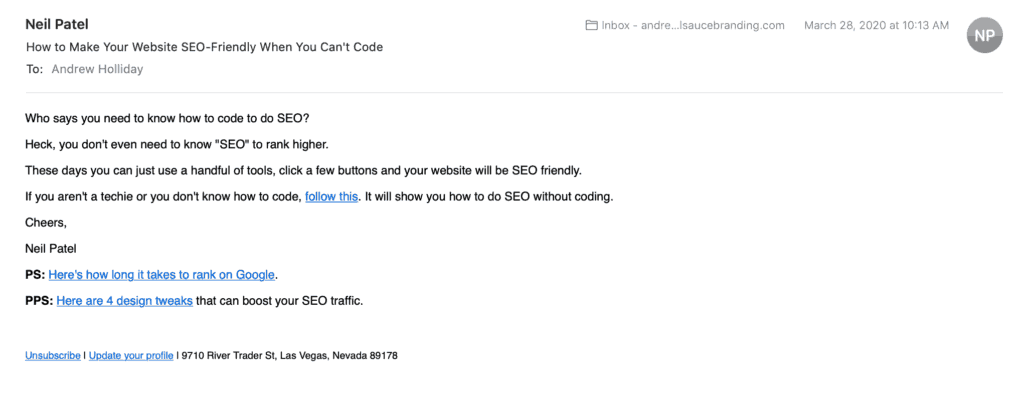 Neil Patel email newsletter example
